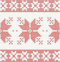 Seamless knitted pattern with christmas ornament in red color Stock Photography