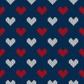 Seamless knitted pattern with hearts valentine s day background on the wool texture eps available Royalty Free Stock Images