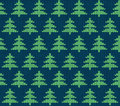 Seamless knitted pattern with trees green Stock Photography