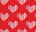 Seamless knitting pattern with hearts saint valentine s day Stock Image