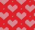 Seamless knitting pattern with hearts saint valentine s day Stock Photos