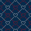 Seamless knitting pattern with hearts valentine s day background on the wool knitted texture eps available Stock Photography