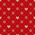 Seamless knitting pattern with hearts valentine s day background on the wool knitted texture eps available Stock Photos