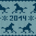 Seamless knitting pattern with horses and snowflakes Royalty Free Stock Images