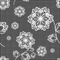 Seamless lace background with flowers Stock Photo