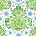 Seamless lace christmas tree pattern Royalty Free Stock Image