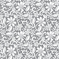 Seamless lace floral pattern on gray background