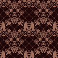 Seamless lace pattern texture with fishnet on brown background Stock Image