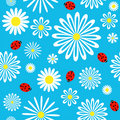 Seamless ladybird chamomile pattern. Royalty Free Stock Photos