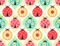 Seamless ladybug insects pattern Royalty Free Stock Photo