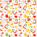 A seamless leaf and rowanberrys pattern vector background this is file of eps format Stock Image
