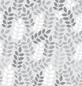 Seamless leaves wallpaper in silver vector Stock Photo