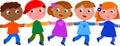 Seamless line of children vector