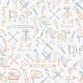 Seamless line pattern with working tools for construction, building and home repair icons. Vector illustration. Elements