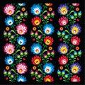 Seamless long Polish folk art pattern - wzory lowickie, wycinanka