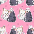 Seamless lover cats pattern.