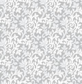 Seamless luxurious silver floral wallpaper vector Royalty Free Stock Images