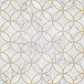 Seamless luxury golden circle geometric pattern and white marble stone texture Royalty Free Stock Photo
