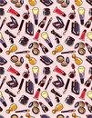 Seamless makeup pattern Stock Photography