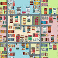 Seamless map of city cartoon drawing Royalty Free Stock Photography
