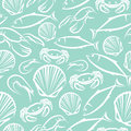 Seamless marine pattern background with seafood Stock Image