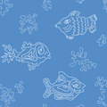 Seamless marine vector pattern with fish and algae Stock Images