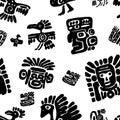 Seamless maya pattern. Black and white ethnic elements.
