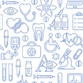 Seamless medical background with line style blue icons on white. Medicine and health design pattern with modern linear symbols.