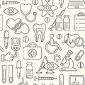 Seamless medical background with line style icons on white. Medicine and health design pattern with modern linear symbols.