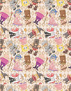 Seamless medieval people pattern Stock Photos
