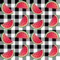 Seamless melon print checked background