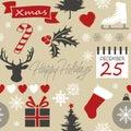 Seamless Merry Christmas pattern illustration