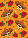 Seamless with mexican skull sugar skulls in sombrero roses and peppers Royalty Free Stock Photos