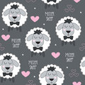 Seamless mister sheep lamb pattern vector illustration
