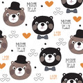 Seamless mister teddy bear pattern vector illustration