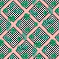 Seamless modern geometric texture squares with exotic tropical jungle green palm leaves on the pink background. Black on white sha