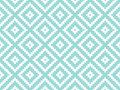 Seamless modern stylish texture and pattern. White repeating geometric tiles with dotted rhombus on a turquorise background. Vecto