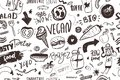 Seamless modern vegan pattern with healty food. Sketch hand drawn items. Hipster style.