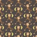 Seamless monkeys pattern