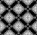 Seamless monochrome damask pattern Stock Photos