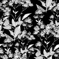 Seamless monochrome floral background this is file of eps format Stock Photos