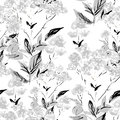 Seamless monochrome floral background this is file of eps format Stock Images