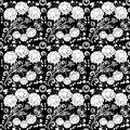Seamless monochrome floral pattern for your design Royalty Free Stock Images