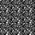 Seamless monochrome floral pattern for your design Stock Photos