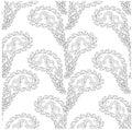 Seamless monochrome paisley pattern