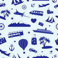 Seamless monochrome pattern on travel and tourism composed of symbols Royalty Free Stock Photo