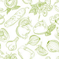 Seamless monochrome pattern vegetable mix vector drawing Stock Photos