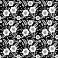 Seamless monochrome pattern with wild rose roses for your design Stock Images