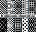 Seamless monochrome patterns no gradient Stock Image