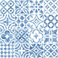 Seamless moroccan pattern. Square vintage tile. Blue and white watercolor ornament painted with paint on paper. Handmade. Print Royalty Free Stock Photo